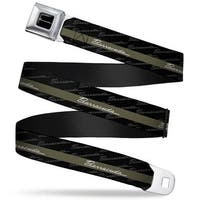 Barracuda Script Logo Full Color Black White Barracuda Script Stripe Seatbelt Belt