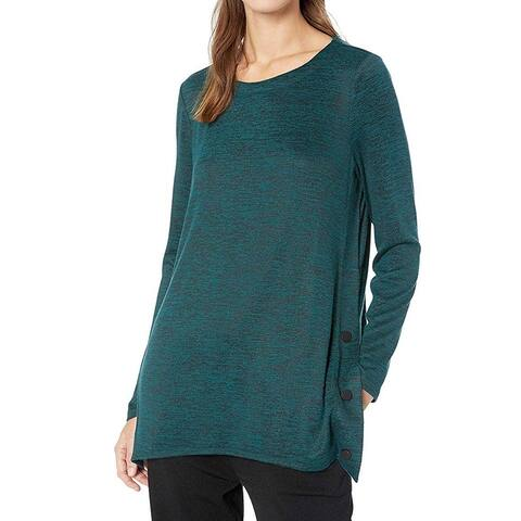 NIC+ZOE Women's Green Size 2X Plus Button Trim Chiffon Side Knit Top