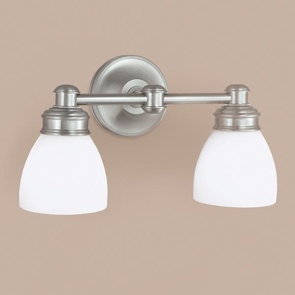 Norwell Lighting 8792 Spencer 9 Tall 2 Light Bathroom Vanity Light Brushed Nickel With Opal Glass Overstock 13013499 Brushed Nickel With Opal Glass