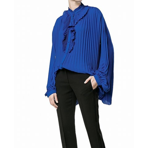 Balenciaga Blue Women's Size 40 US 4 Button Down Pleated Blouse
