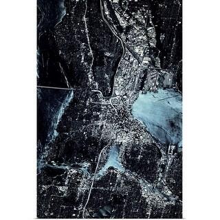 """Satellite view of Seattle, Washington State"" Poster Print"