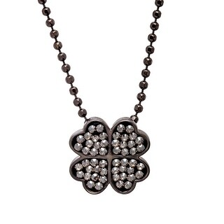 Crystaluxe Four-Leaf Clover Pendant with Swarovski Crystals in Sterling Silver - grey