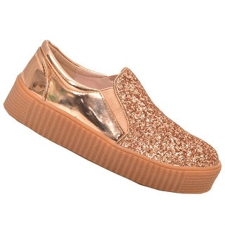 Adult Pink Glitter Glossy Laceless Slip-On Fashion Sneakers
