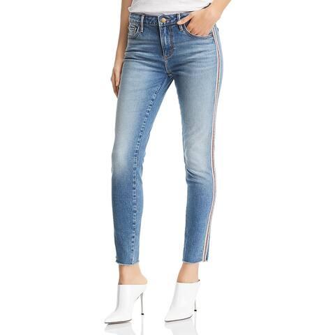 Aqua Womens Jeans Striped Raw Hem