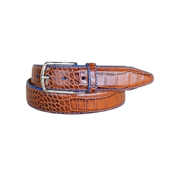 Lejon Western Belt Mens Anzio Calfskin Leather Cognac
