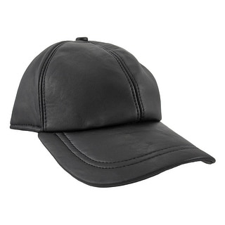 Black Nappa Leather Baseball Cap