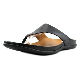 Strive Maui Women Open Toe Leather Black Flip Flop Sandal