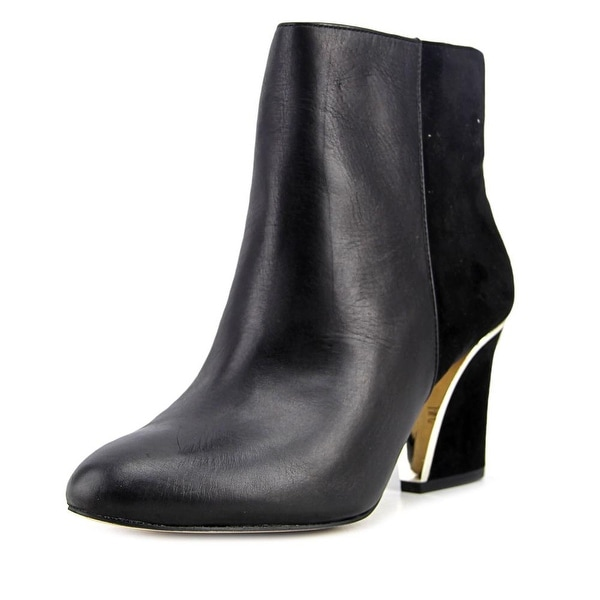 INC International Concepts Harpp Women  Round Toe Leather Black Ankle Boot