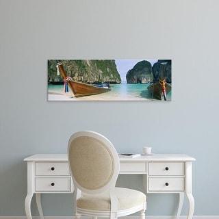 Easy Art Prints Panoramic Image 'Longtail boats, Mahya Beach, Ko Phi Phi Lee, Phi Phi Islands, Thailand' Canvas Art