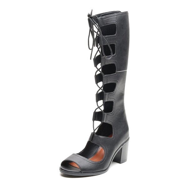 Mia Elija Women Peep-Toe Synthetic Black Knee High Boot