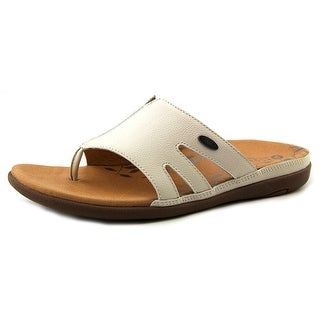 Acorn Prima Cutaway Thong Women Open Toe Leather Ivory Slides Sandal