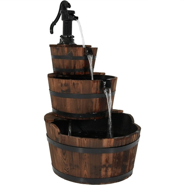 Sunnydaze 3-Tier Vintage Water Pump and Wooden Barrel Garden Fountain, 39 Inch Tall, Includes Electric Submersible Pump