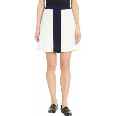 TOMMY HILFIGER Womens White Color Block Mini A-Line Wear To Work Skirt Size: 16