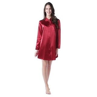 Richie House Women's Medium Style Satin Shirt Pajama Sleepwear