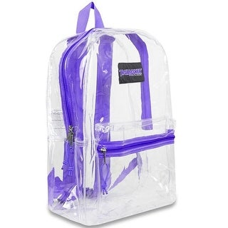 "Trailmaker Girls Purple Padded Straps Classic Clear Backpack 15""x10.6""x5"""