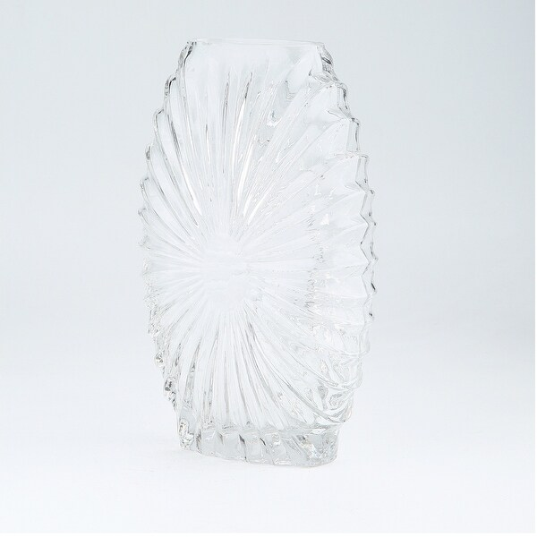 "9.5"" Clear Embossed Line Design Handblown Glass Vase - N/A"