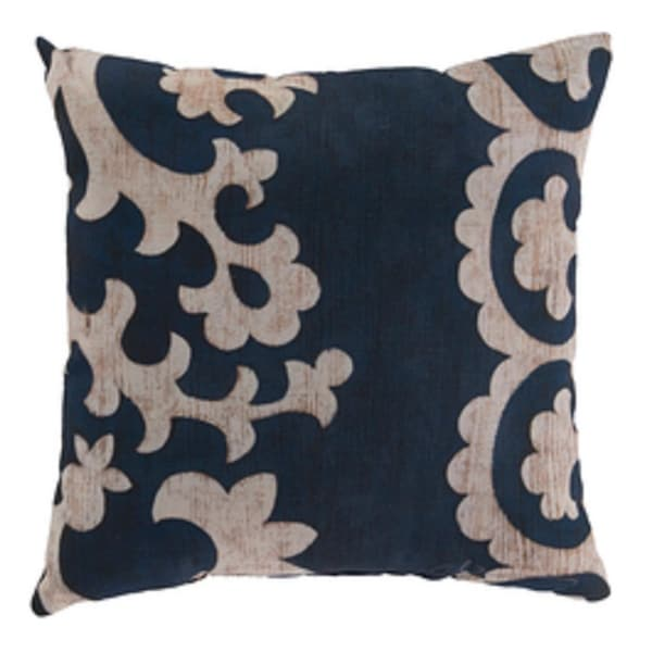 "18"" Midnight Blue and Cream Rustique Square Outdoor Pillow Shell"