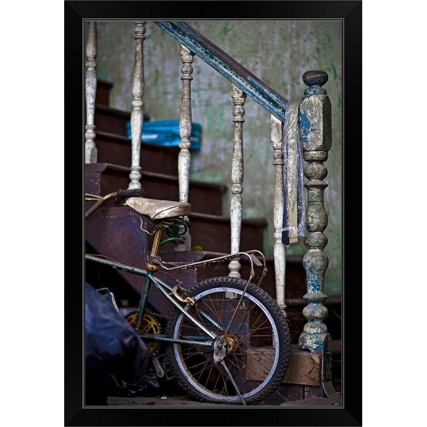 """""""an old staircase with paint peeling provides support for a childs bicycle"""" Black Framed Print"""
