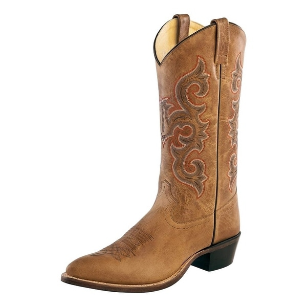 Old West Cowboy Boots Mens Pull Tabs Stitching Leather Tan Fry