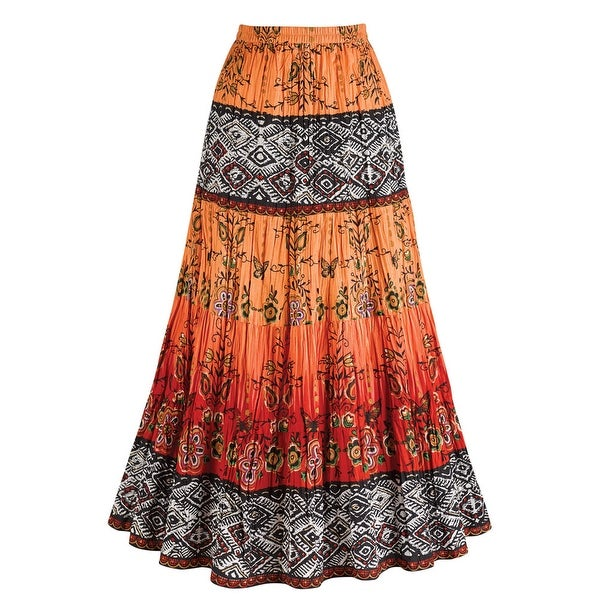Women's Crinkle Broom Skirt - Chesca Coral Orange & Red Tribal Pattern