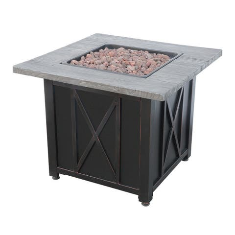 Mr. Bar-B-Q Endless Summer Outdoor Fire Pit with Wood Grain Mantel