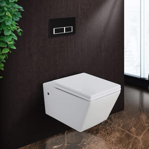 """Plaza In-Wall toilet Combo Set - 21"""" Toilet Bowl With Soft-Close Seat, 2""""x 4"""" Tank And Carrier System, Push Buttons Included."""