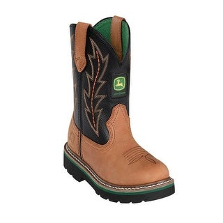 Johnny Popper Western Boots Boys Kids John Deere Cowboy Tan