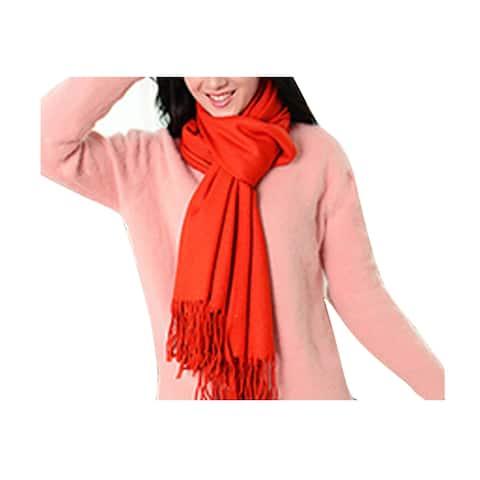 D01 Women Tasseled Fringe Long Wrap Shawl Scarf Orange