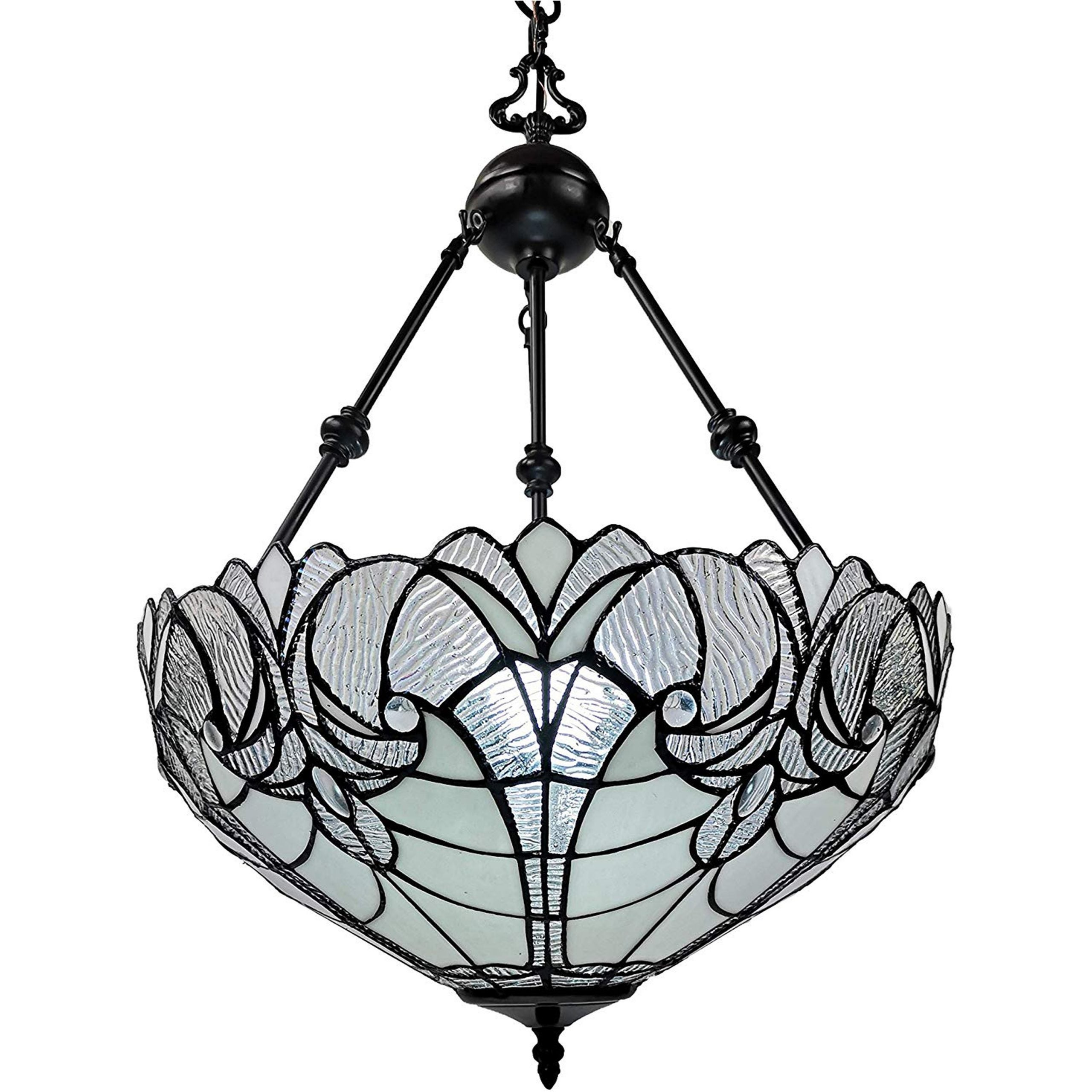 Shop Black Friday Deals On Tiffany Style Hanging Pendant Lamp 18 In Wide Am263hl18b Amora Lighting Overstock 13262399 Clear White