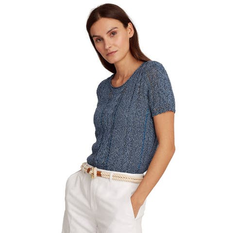 Lauren Ralph Lauren Womens Camisole Lined Cable Sweater Large Blue