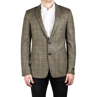 Prada Men's Notched Lapel Virgin Wool Sport Jacket Coat Blazer Plaid Stone Grey