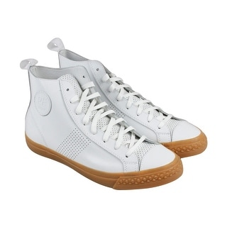 PF Flyers Rambler Hi Mens White Leather High Top Lace Up Sneakers Shoes