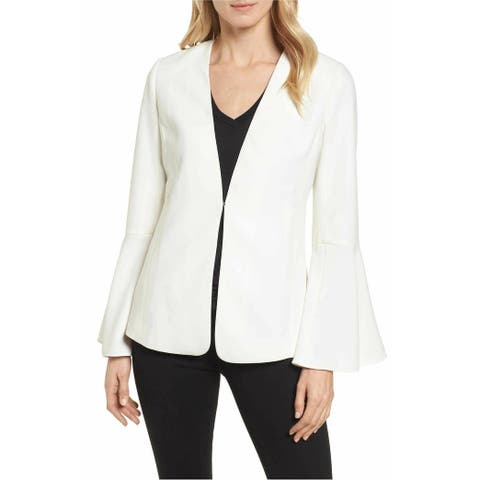 Halogen Womens Blazer White Ivory Size Small S Bell Sleeve Front-Clasp