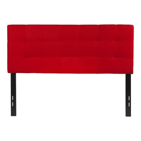 Offex Contemporary Tufted Upholstered Full Size Panel Headboard in Red Fabric