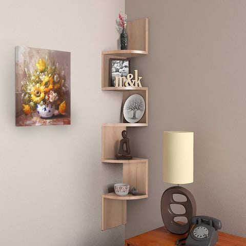 NOVA FURNITURE 5 Tiers Floating Teen Wall Mount Corner Bookcase and Bookshelf, Home Decor Display Shelves for Small Space Living