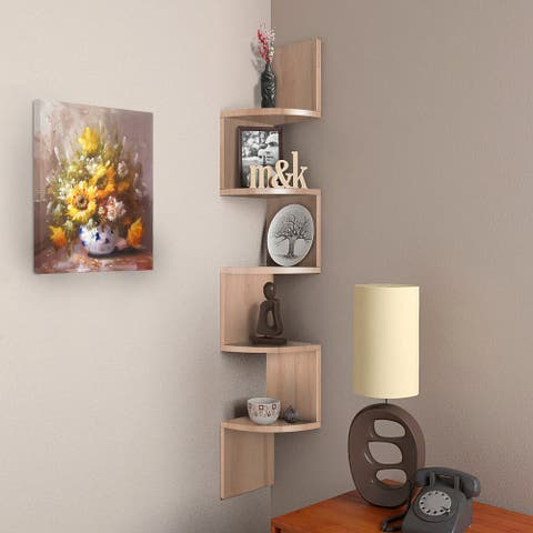 NOVA FURNITURE 5 Tiers Floating Wall Mount Corner Bookcase and Bookshelf, Display Shelves for Small Space Apartment,Condos,Dorm