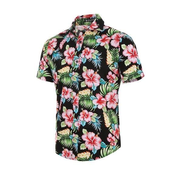 8bc72d84a Men Slim Fit Floral Print Short Sleeve Button Down Beach Hawaiian Shirt