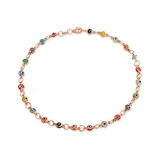 Bling Jewelry Multi Color 925 Rose Gold Plated 925 Sterling Silver Evil Eye Ankle Bracelet 10 in - Pink