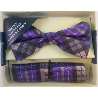Men's Purple & Tan Plaid Pre Tied Bow Tie And Handkerchief Set