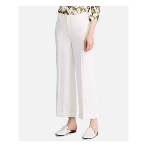 RALPH LAUREN Womens Ivory Wide Leg Wear to Work Pants Size 14