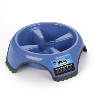 "Petmate JW Skid Stop Slow Feed Dog Bowl Medium Blue 8.5"" x 8.5"" x 2.5"""