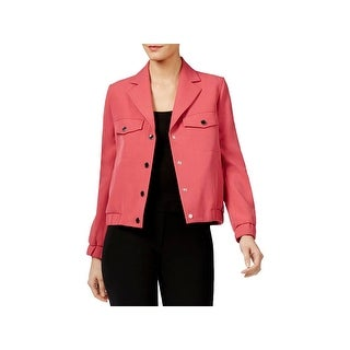 Anne Klein Womens Jacket Crepe Snap-Front