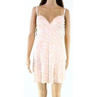 INC NEW Pink Womens Size Small S Heart-Print Lace-Trim Side-Slit Gowns