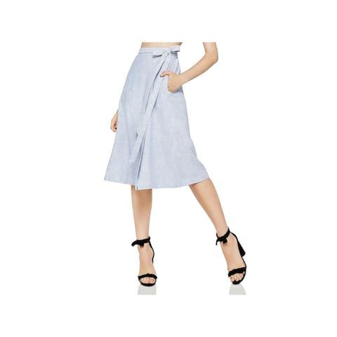 BCBGeneration Womens Midi Skirt Linen Striped - M