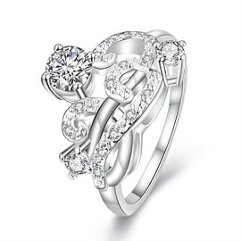 Petite Classic Crystal Swirl Abstract Design Petite Ring