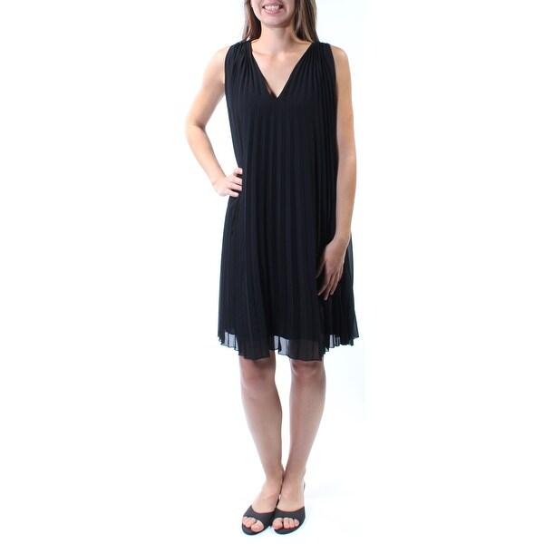 Shop Womens Black Sleeveless Knee Length Shift Dress Size Xs On