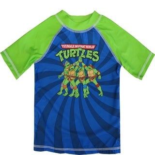 Nickelodeon Little Boys Blue Green TMNT Rash Guard Swimwear Shirt 2-4T