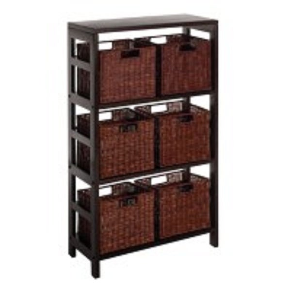"""Set of 7 Black and Brown Shelf with Six Small Baskets – 42"""" - N/A"""