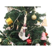 Wooden Rustic Decorative Red & White Anchor Christmas Tree Ornament