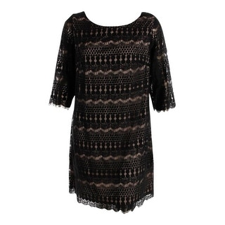 Jessica Howard Womens Plus Lace 3/4 Sleeves Cocktail Dress